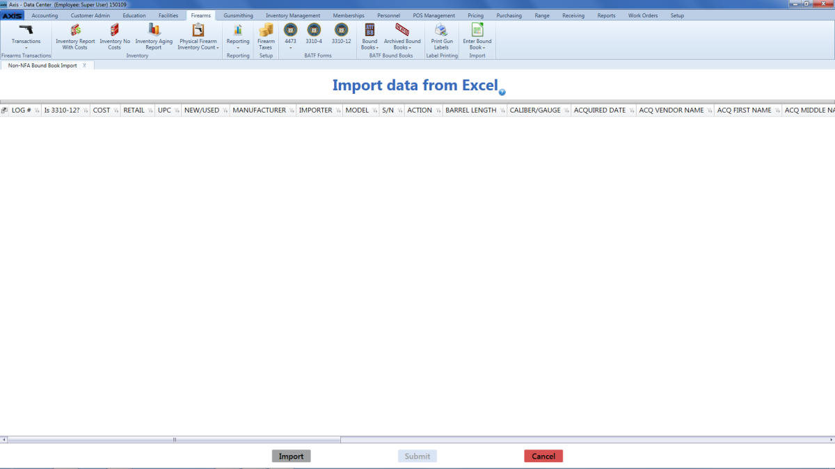 Import Data into a Bound Book